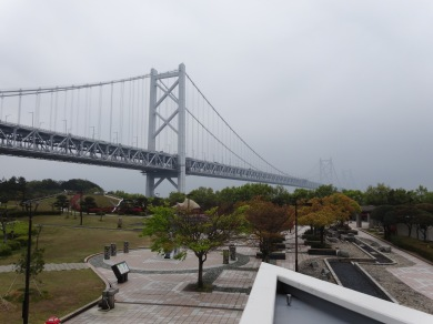 Bridge to Honshu. On a nice day you could see how amazingly long it is. On this day, you can see how amazingly foggy it is.